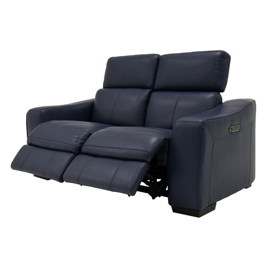 Jay Blue Leather Power Reclining Loveseat  alternate image, 3 of 9 images.