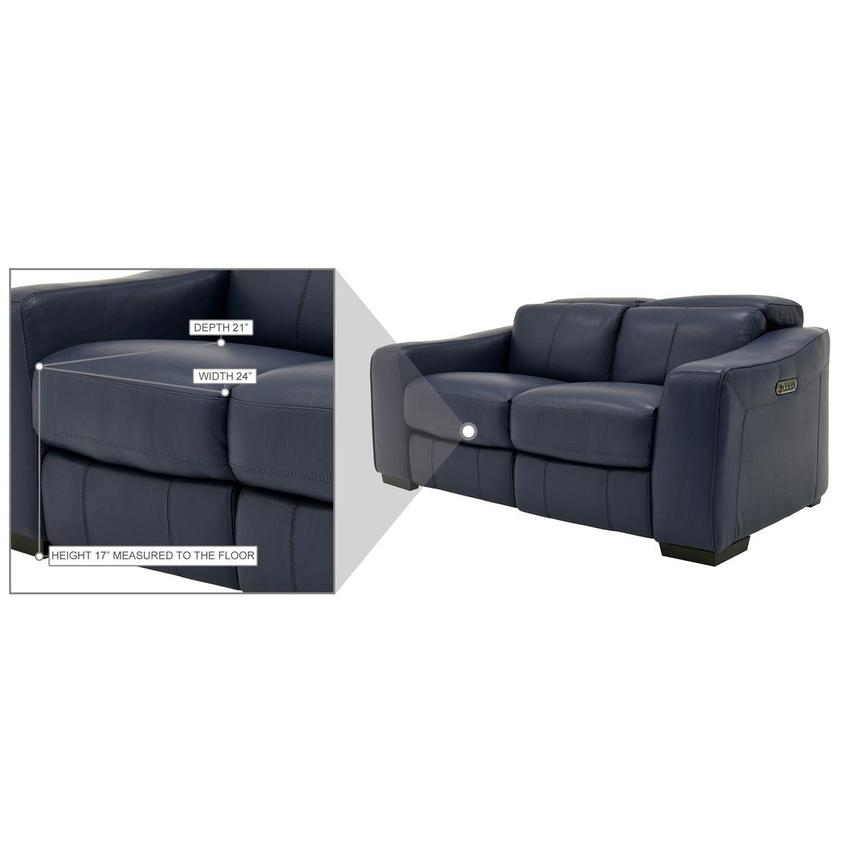 Jay Blue Leather Power Reclining Loveseat  alternate image, 8 of 9 images.