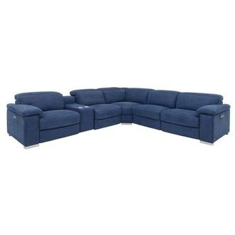 Karly Blue Power Motion Sofa w/Right & Left Recliners