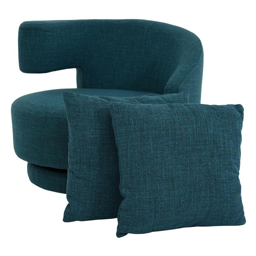 Okru Blue Swivel Chair w/2 Pillows  main image, 1 of 11 images.