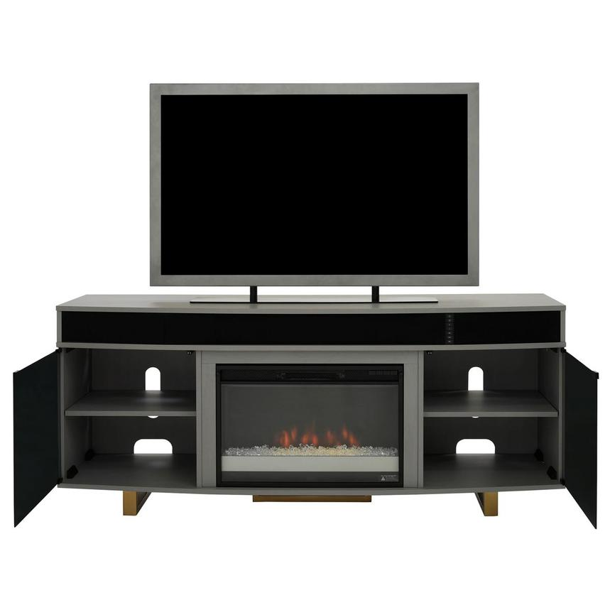 Enterprise Gray Electric Fireplace w/Speakers  alternate image, 2 of 8 images.