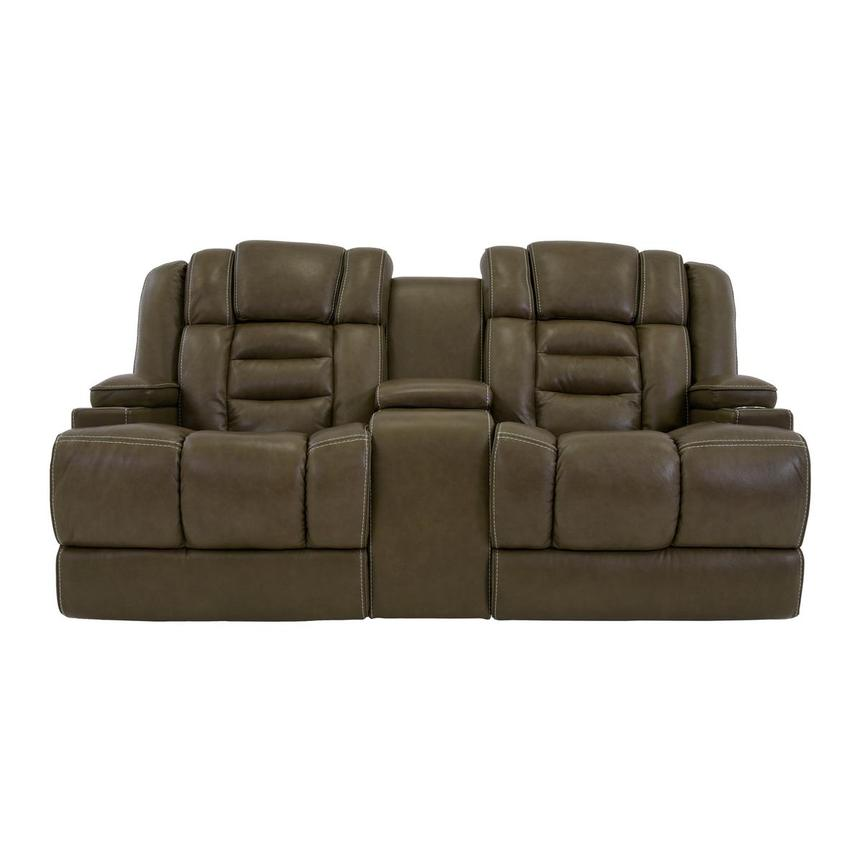 Damon Brown Leather Power Reclining Sofa w/Console  main image, 1 of 10 images.