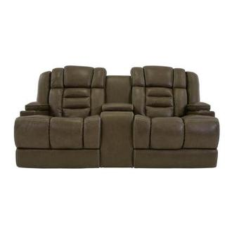 Damon Brown Leather Power Reclining Sofa w/Console