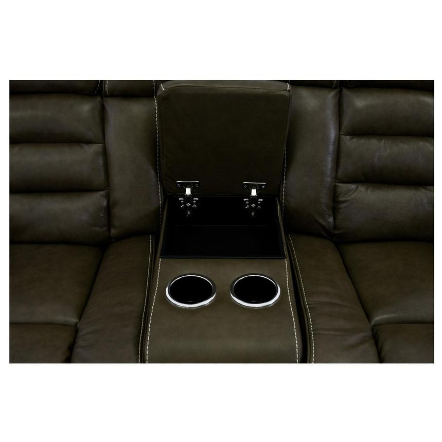 Damon Brown Leather Power Reclining Sofa w/Console  alternate image, 6 of 10 images.