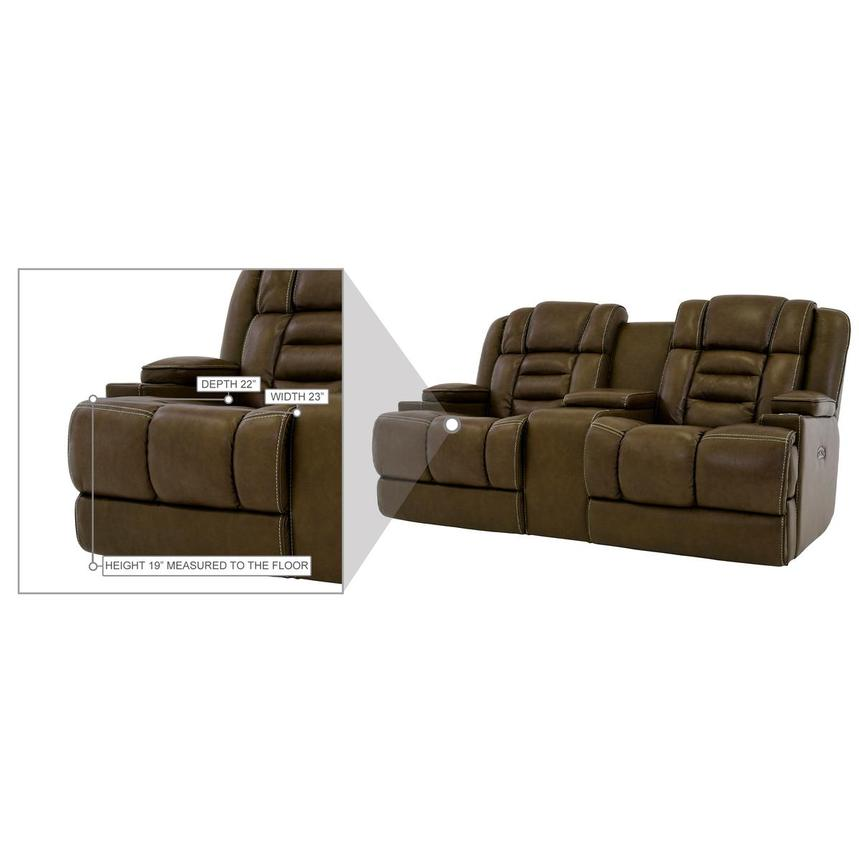Damon Brown Leather Power Reclining Sofa w/Console  alternate image, 10 of 10 images.