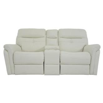 Zane Cream Leather Power Reclining Sofa w/Console