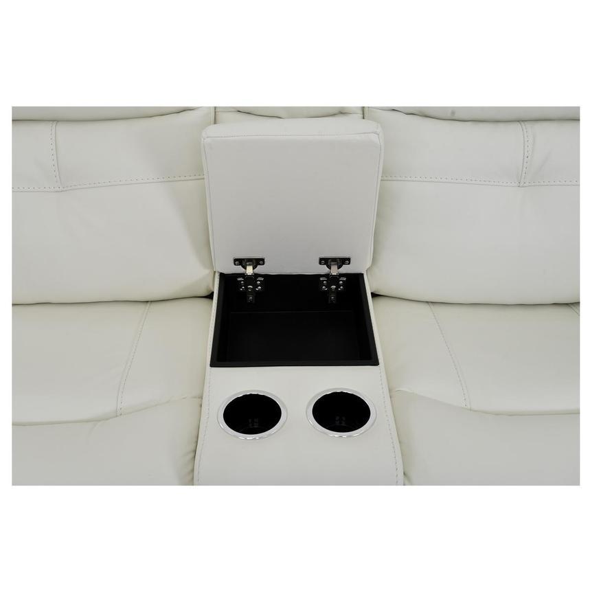 Zane Cream Power Motion Leather Sofa W/Console