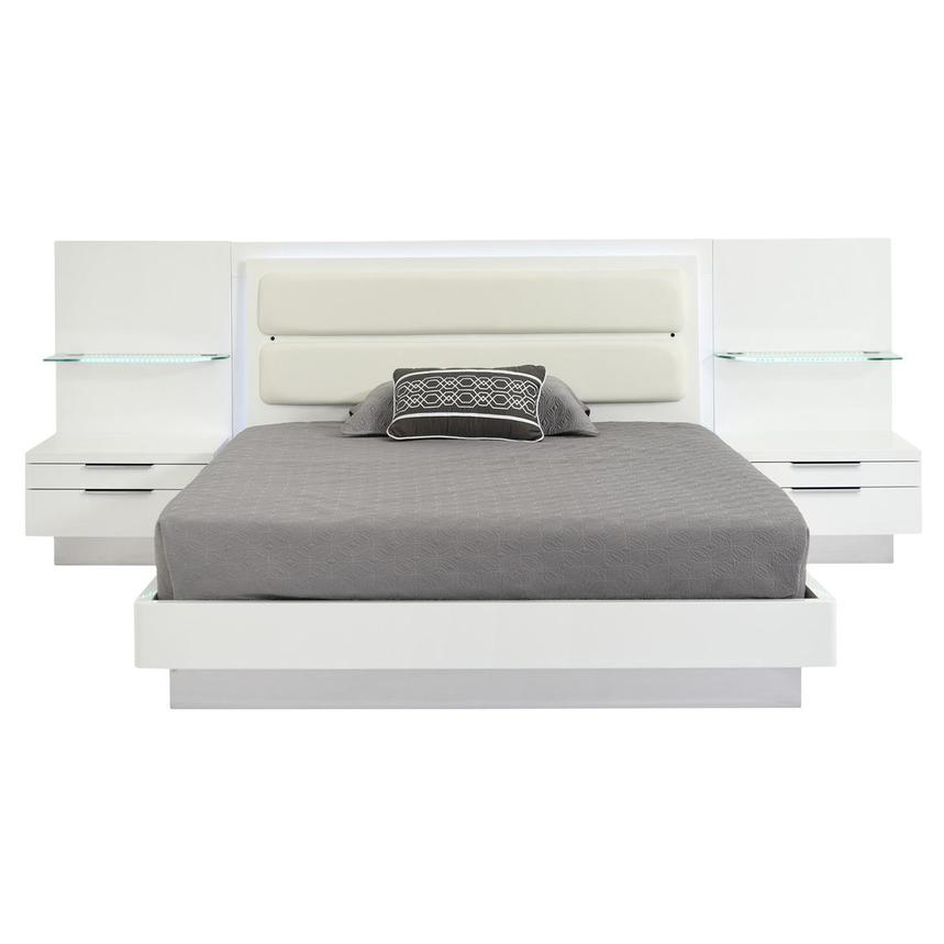 Ally White Queen Platform Bed w/Nightstands  alternate image, 4 of 17 images.