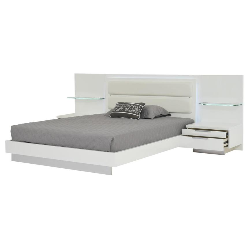 Ally White Queen Platform Bed w/Nightstands  alternate image, 4 of 18 images.