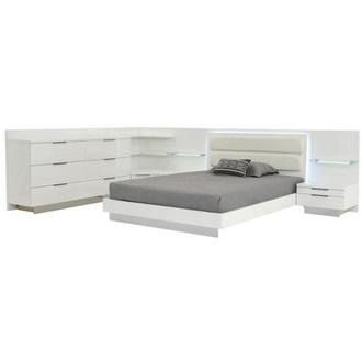 Ally White Queen Bed w/2 nightstands, dresser, & corner unit