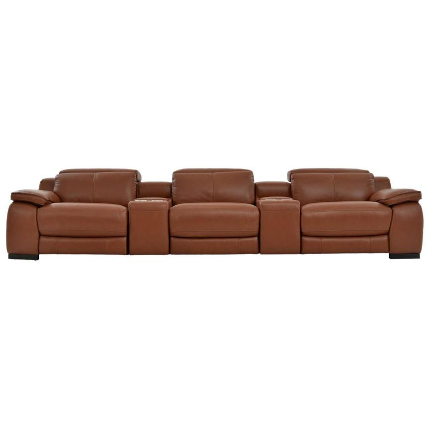 Gian Marco Tan Home Theater Leather Seating  main image, 1 of 11 images.