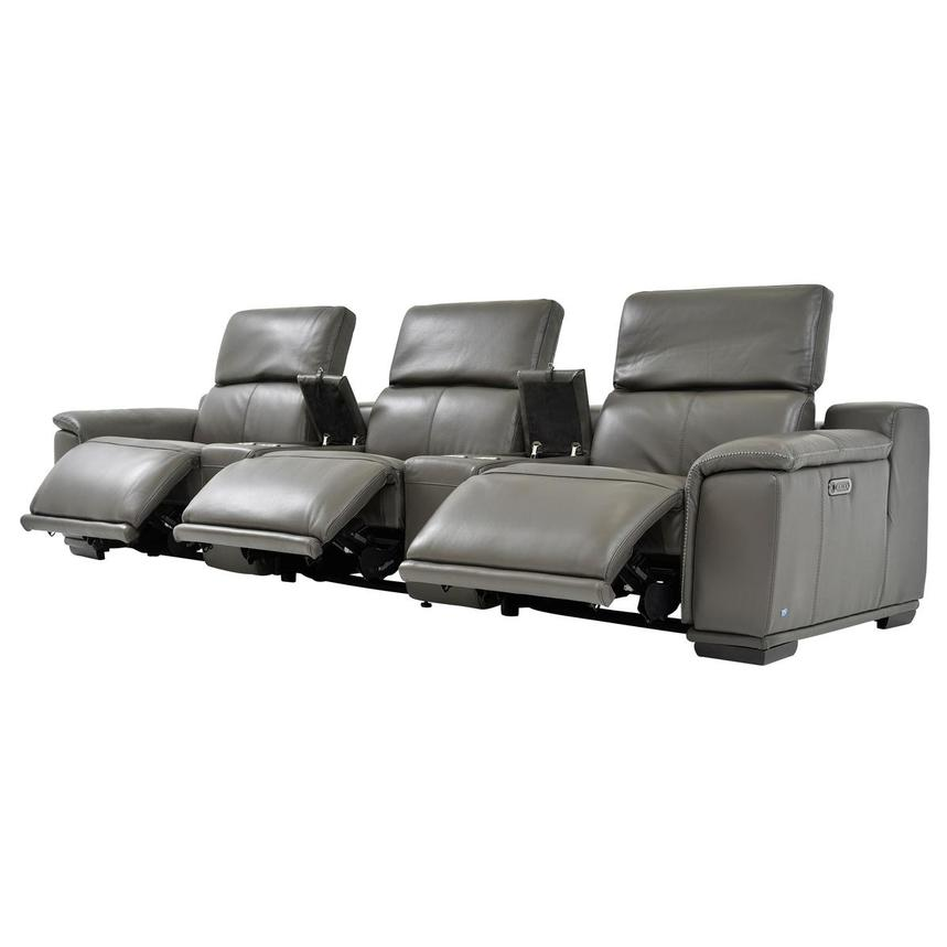 Davis 2.0 Dark Gray Home Theater Leather Seating  alternate image, 4 of 10 images.