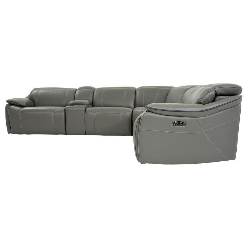 Austin Dark Gray Leather Power Reclining Sectional  alternate image, 4 of 11 images.