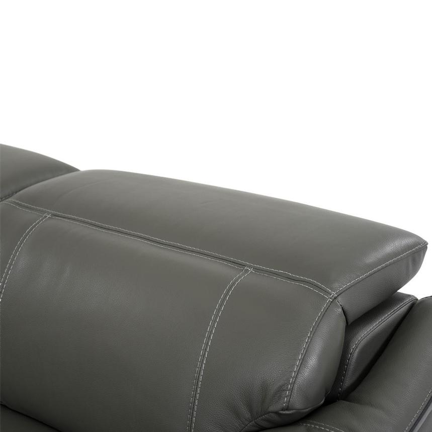 Austin Dark Gray Leather Power Reclining Sectional  alternate image, 7 of 9 images.