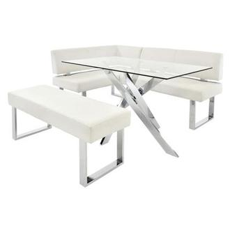 Linden Clear/White Left Corner Nook Set w/Bench
