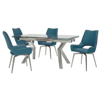 Lynne Clear/Kalia Blue 5-Piece Dining Set