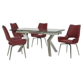 Lynne Clear/Kalia Red 5-Piece Dining Set