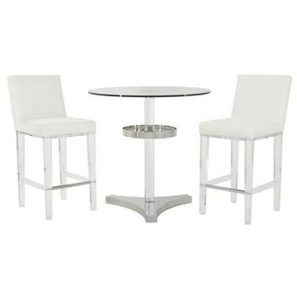 Mina White 3-Piece Counter Dining Set