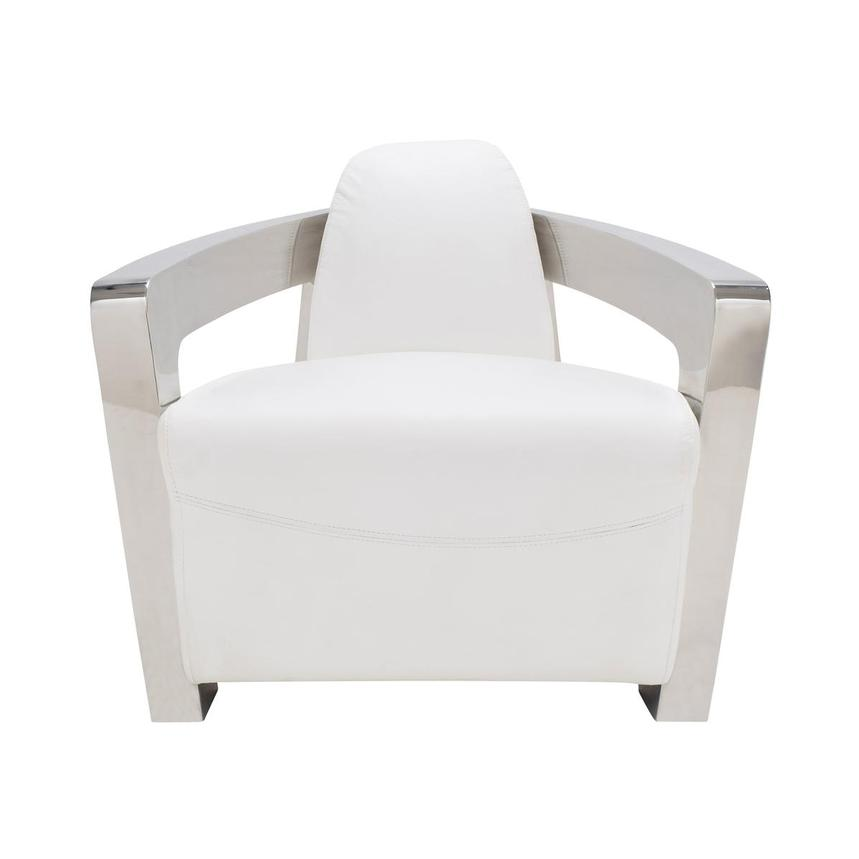 Aviator II White Leather Accent Chair  main image, 1 of 7 images.