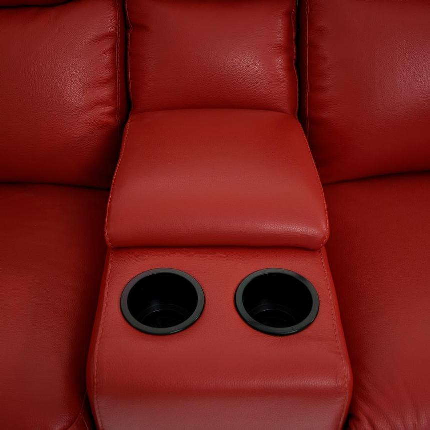 Barry Red Home Theater Leather Seating  alternate image, 9 of 11 images.