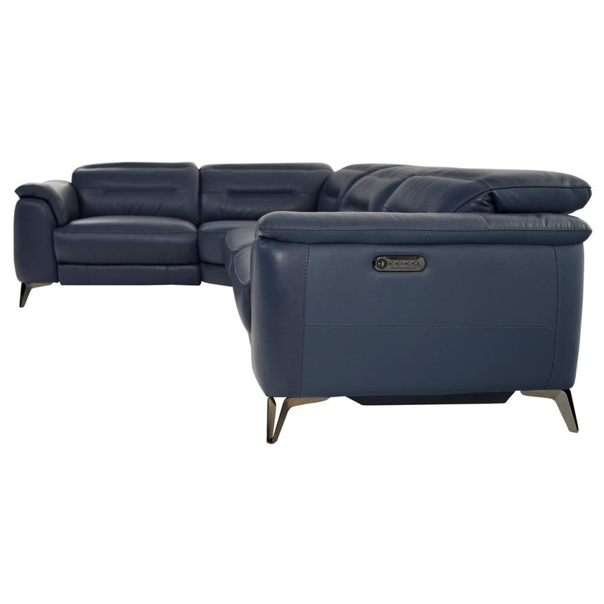 Anabel Blue Leather Power Reclining Sectional  alternate image, 3 of 9 images.
