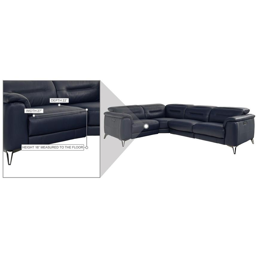 Anabel Blue Leather Power Reclining Sectional  alternate image, 8 of 9 images.