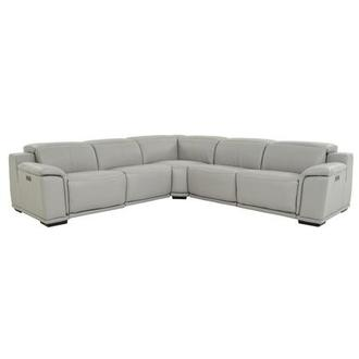 Davis 2.0 Light Gray Leather Power Reclining Sectional