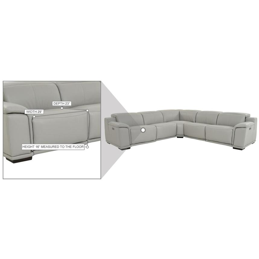 Davis 2.0 Light Gray Leather Power Reclining Sectional  alternate image, 10 of 10 images.