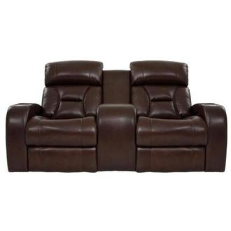 Gio Brown Leather Power Reclining Sofa w/Console