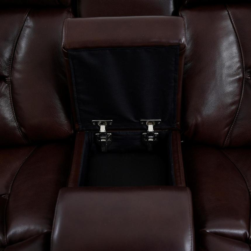 Gio Brown Leather Power Reclining Sofa w/Console  alternate image, 9 of 14 images.