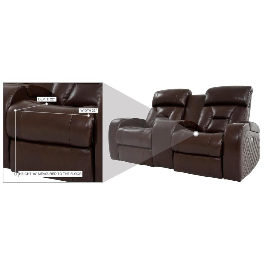 Gio Brown Leather Power Reclining Sofa w/Console  alternate image, 14 of 14 images.