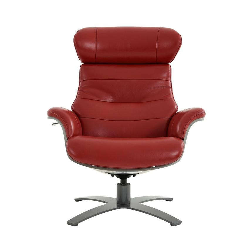 Enzo II Red Leather Swivel Chair  main image, 1 of 13 images.