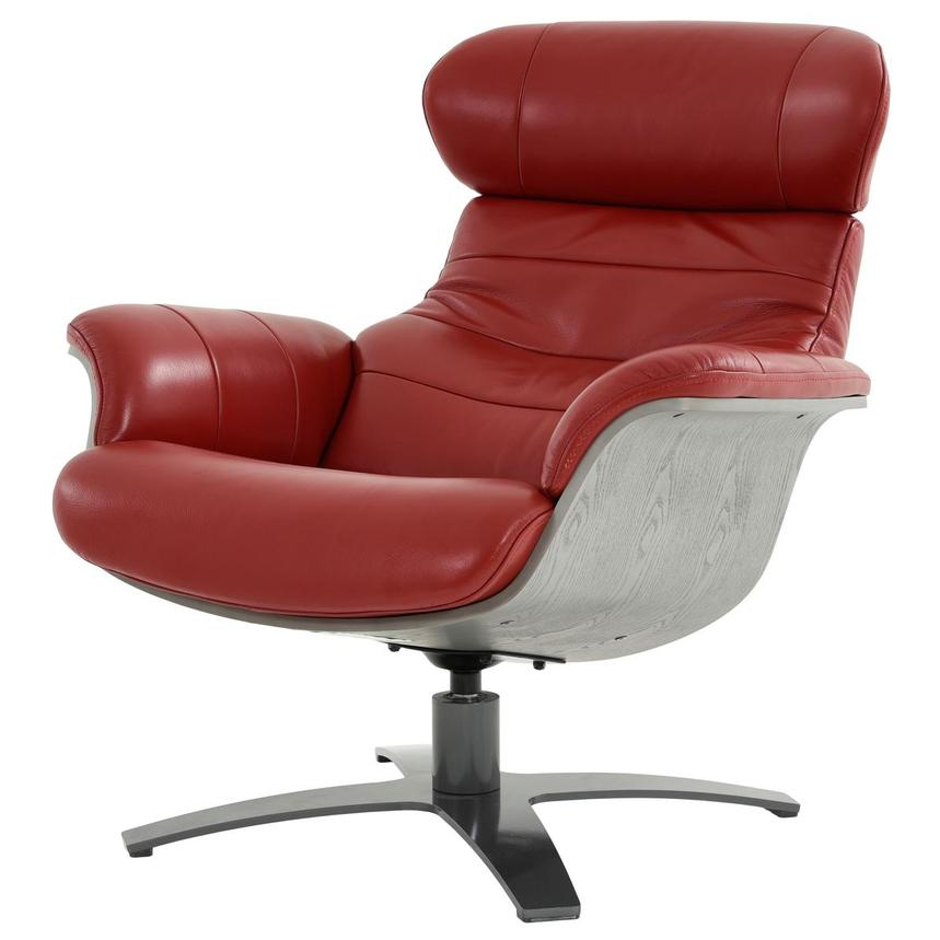 Enzo II Red Leather Swivel Chair  alternate image, 4 of 13 images.