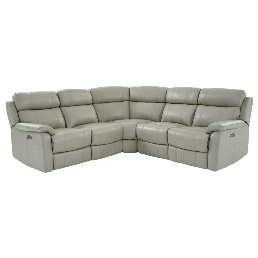 Ronald 2.0 Gray Leather Power Reclining Sectional  main image, 1 of 8 images.