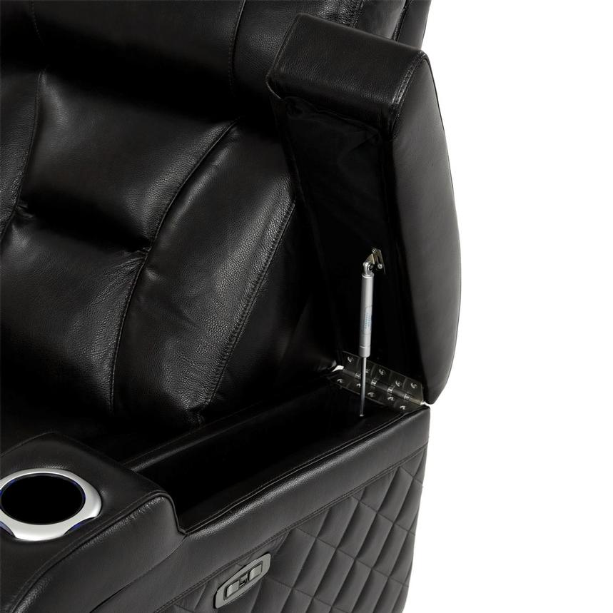 Gio Black Power Motion Leather Sofa w/Console  alternate image, 10 of 13 images.