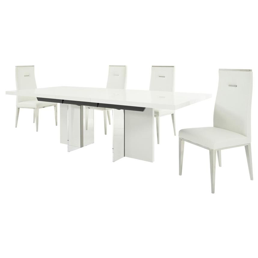 Siena/Hyde White 5-Piece Formal Dining Set  alternate image, 4 of 17 images.