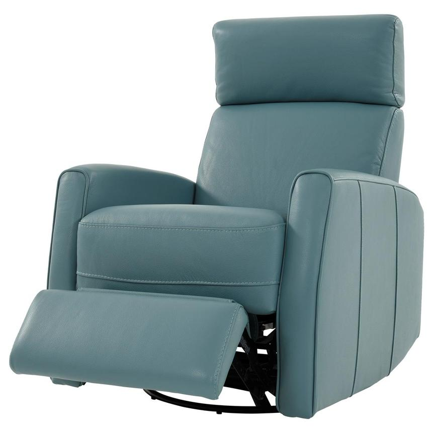 Lucca Blue Leather Power Recliner  alternate image, 3 of 9 images.