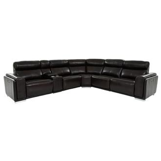 Barcelona Burgundy Leather Power Reclining Sectional