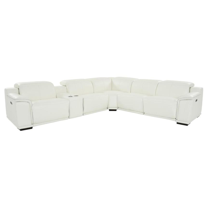 Davis 2.0 White Leather Power Reclining Sectional  main image, 1 of 11 images.