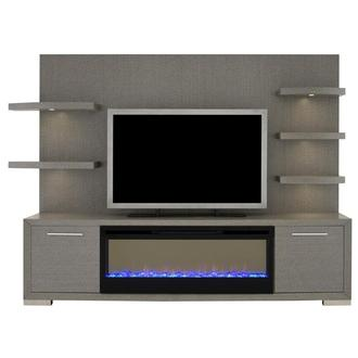 Rialto Gray Wall Unit w/Faux Fireplace