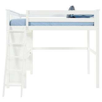 Haus White Twin Loft Bed w/Desk