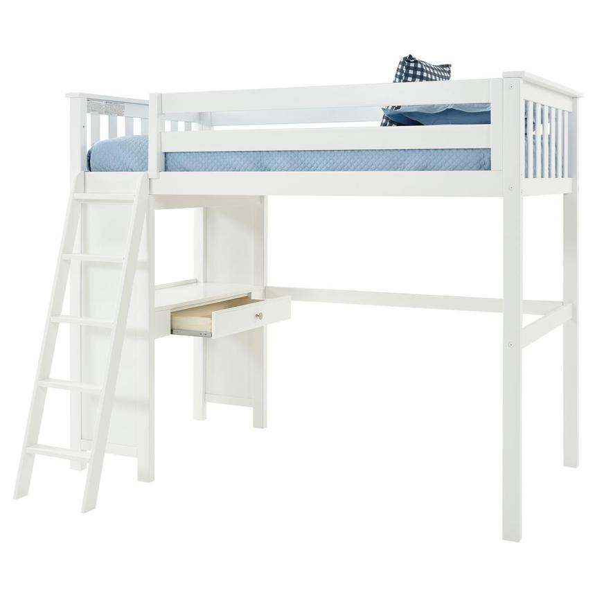 Haus White Twin Loft Bed w/Desk  alternate image, 4 of 11 images.