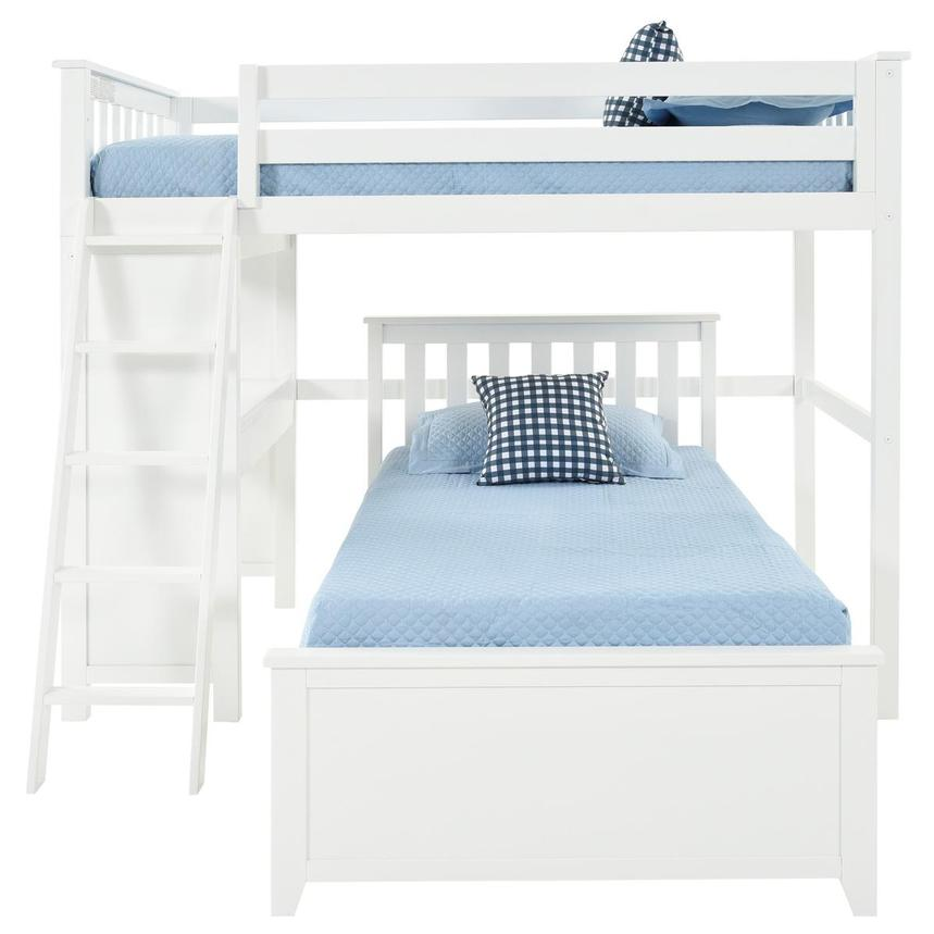 Haus White Twin Over Twin Bunk Bed w/Desk  alternate image, 4 of 11 images.