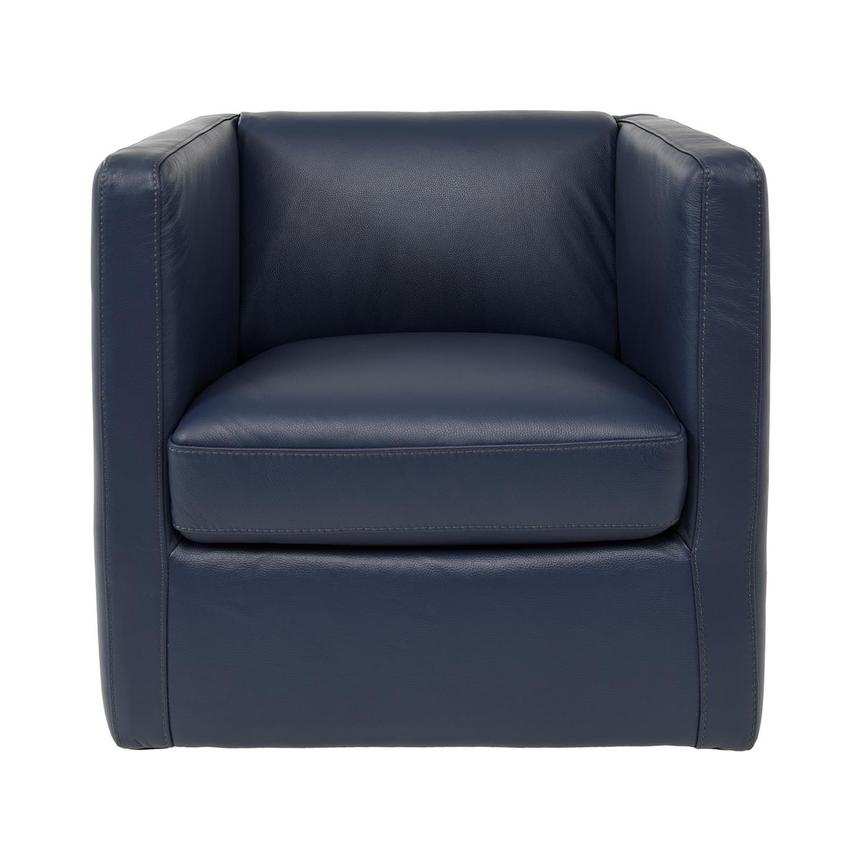 Cute Blue Leather Swivel Chair  main image, 1 of 6 images.
