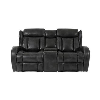 Pronto Gray Power Reclining Sofa w/Console