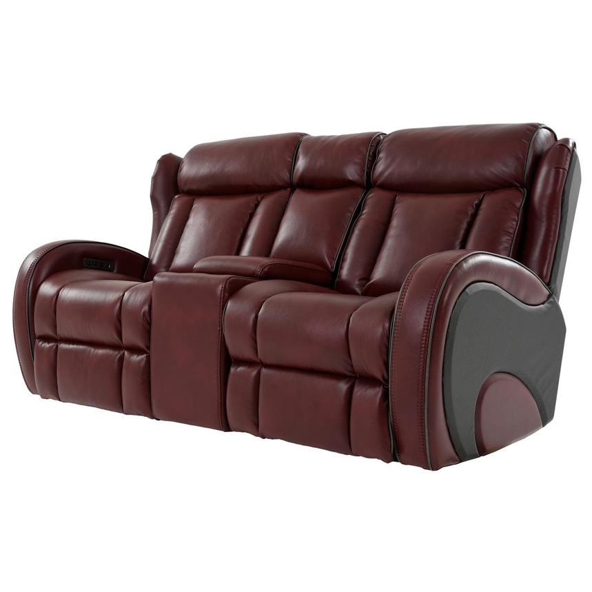 Pronto Red Power Reclining Sofa w/Console  alternate image, 2 of 12 images.