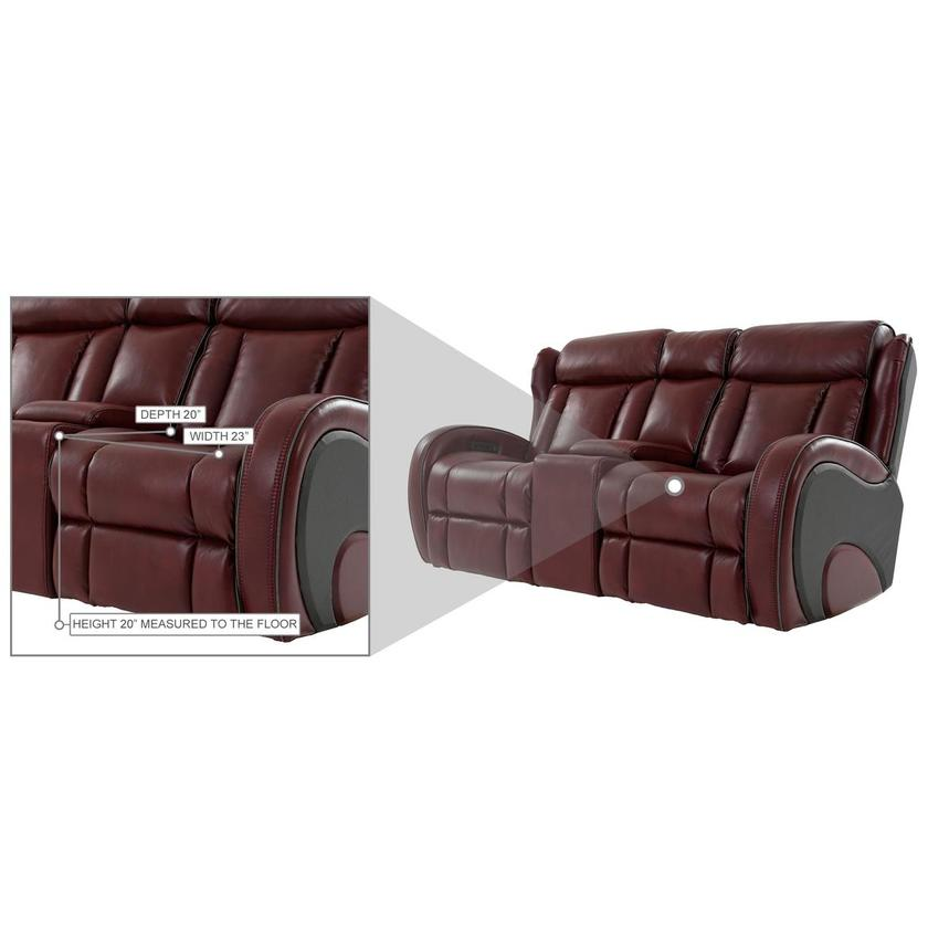 Pronto Red Power Reclining Sofa w/Console  alternate image, 12 of 12 images.