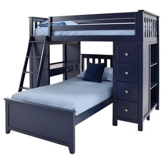 Haus Blue Twin Over Twin Bunk Bed w/Desk & Chest