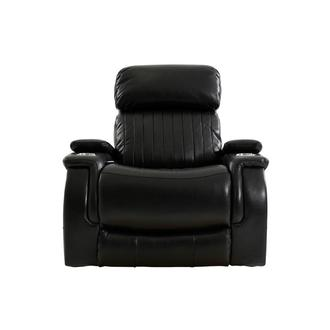 Obsidian Leather Power Recliner w/Massage & Heat