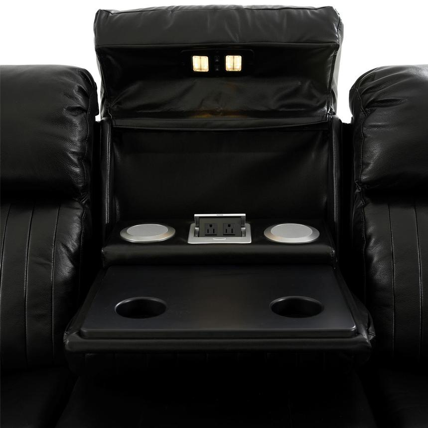 Obsidian Leather Power Reclining Sofa w/Massage & Heat  alternate image, 8 of 16 images.